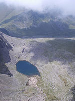 Looking straight down on the lake below Clogwyn - about 2500ft below